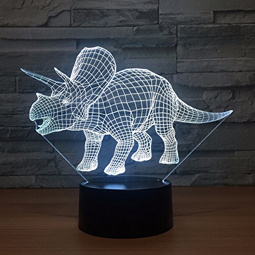 3D Dinosaur Night Light Touch Switch 7 Color Change LED Table Desk Lamp Acrylic Flat ABS Base USB Charger Home Decoration Toy Brithday Xmas Kid Children Gift ()