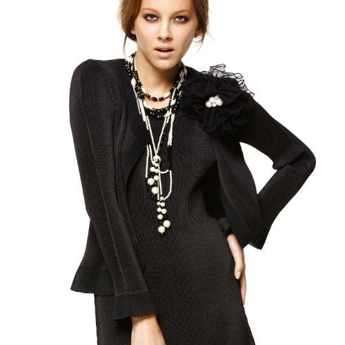 SPECCHIO PLEATS Women's Collarless Bolero Jacket with Organdie Trim One size Black