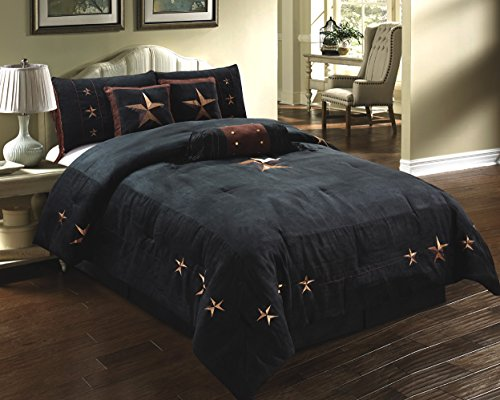 7 piece western lodge oversize king 110 x96 comforter set black dark brown embroidered. Black Bedroom Furniture Sets. Home Design Ideas