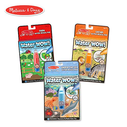 Melissa & Doug Water Wow! Reusable Color with Water Activity Pad 3-Pack, Farm, Safari, Under the Sea -