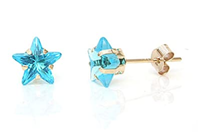 9ct Gold Star Shaped Blue Stud earrings L5f8W1FKd8