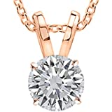 """0.5 Carat Round Diamond 4 Prong Solitaire Pendant Necklace H-I Color I1 Clarity w/ 16"""" 14K Gold Chain"""