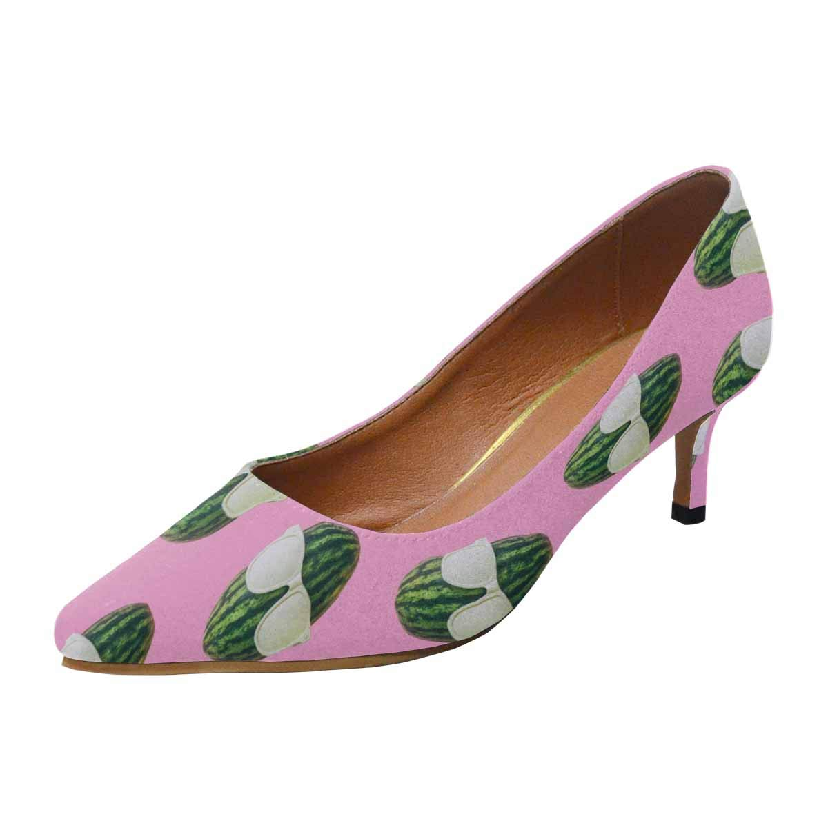 InterestPrint Women's Low Heels Dress Shoes Pointed Toe Pump Watermelon Heads with Sunglasses on Pink US8