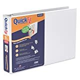 """QuickFit Deluxe Heavy-Duty Landscape Binder - 1 1/2"""" Binder Capacity - Letter - 8 1/2"""" x 11"""" Sheet Size - 275 Sheet Capacity - Round Ring Fastener - 2 Front & Back Pocket(s) - White - Recycled - 1 Each"""