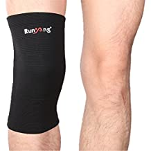 YDZN Knee Brace Sleeve Classic Knitting Compression Knee Support Sports Knee Guard Pad Protector (Mumian/A04/Single Wrap/S)