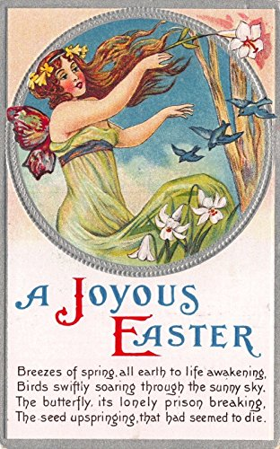 Art Nouveau Fairies (Easter Postcard Art Nouveau Fairy Woman, Flowers, Birds and Poem~111546)
