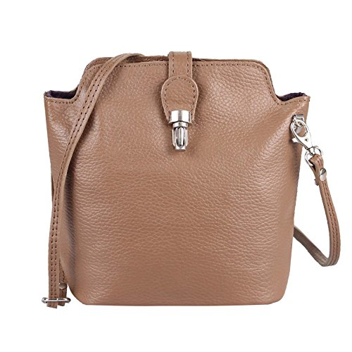 OBC Made in Italy Damen Leder Tasche Vera Pelle Schmucktasche Crossover Clutch Abendtasche Cross Body Umhängetasche City Bag Schultertasche (Taupe) nFt7YrY