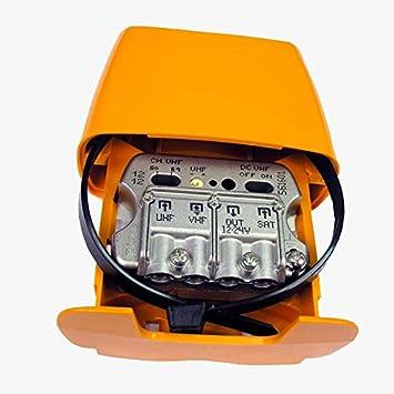 AMPLIFICADOR DE ANTENA PARA MASTIL CON ENTRADA PARA PARABOLICA SATELITE 3e/1s UHF-VHFmix