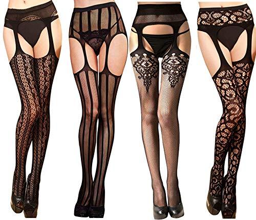 Bkvava Women's Sexy Thigh High Dance Fishnet Tights Suspender Garter Stockings 4 Pack