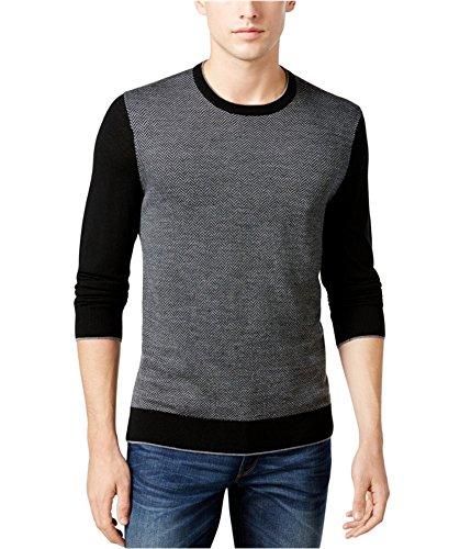 - Michael Kors Mens Colorblocked Herringbone Pullover Sweater, Black, Medium