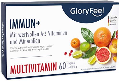 Immun+ Multivitamin Hochdosiert - 2 Monate Immun-Kur - Alle wertvollen A-Z Vitamine und Mineralien - Premium Vitamin-Komplex hoch Bioaktiv - 60 Tabletten - Laborgeprüfte Herstellung in Deutschland