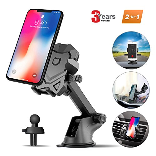 Car Phone Mount for Cars Accessories,Universal Air Vent Dashboard Windshield Phone Holder for Car Mount Holder Cradle with 360°Rotation for iPhone,Samsung Galaxy Note,LG,GPS and Smartphones By iFedio by iFedio