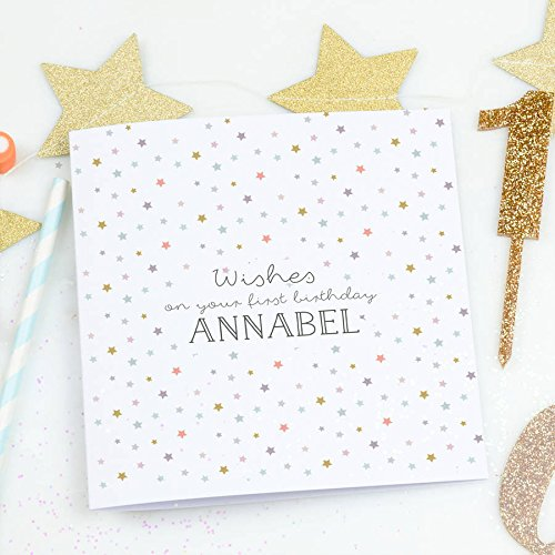 Personalised First Birthday Card Wishes Amazon Handmade
