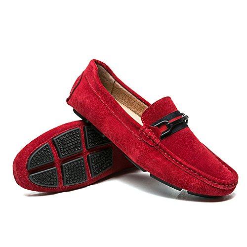 Antideslizante Cuero Rojo Calzado Resistente de y Interior para Hombres Zapatos Use Casuales BP1wqBCv