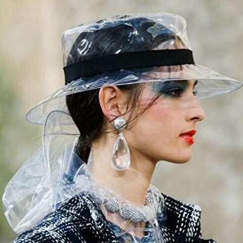 CapsA Wide Brim Rain Hats for Women Soft Plastic Clear Headgear Sun Visor Cap PVC Transparent Jelly Bucket Hat Rain Cap Hair Protection (Black) ()