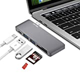 USB C HUB Adapter for MacBook Pro,Thunderbolt 3 Multi Port Charging Adapter with USB-C Charging Port,Type-C Pass,2 USB 3.0 Ports,SD / Micro Card Reader(gray)