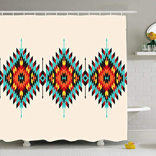 Ahawoso Shower Curtain 60x72 Inches Ethnic Native Tribal Geometric Border Pattern Abstract Indian American Apache Maya Navajo Aztec Waterproof Polyester Fabric Bathroom Curtains Set with Hooks