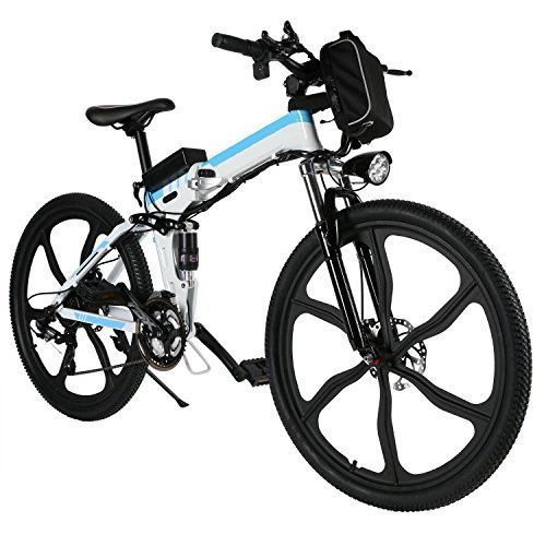 Kaluo Folding Electric Mountain Bike, 26 Inch Wheel, Lithium-Ion Battery, Dual-Suspension and Shimano Gear, 2 Working Mode (US Stock) (White1)