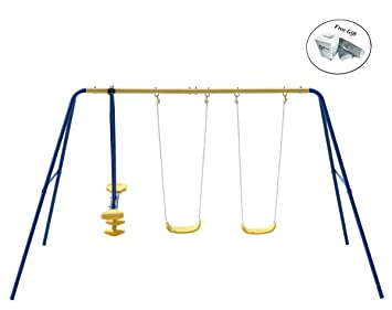 Amazon Com Costway Metal A Frame Four Seat Swing Set For 4 Children
