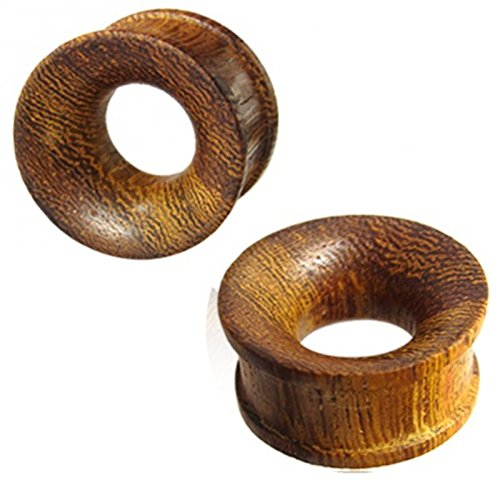 Tribal Wood Tunnel dark brown wooden tunnel hand carved wood parasite wave pattern plug expander 9/16