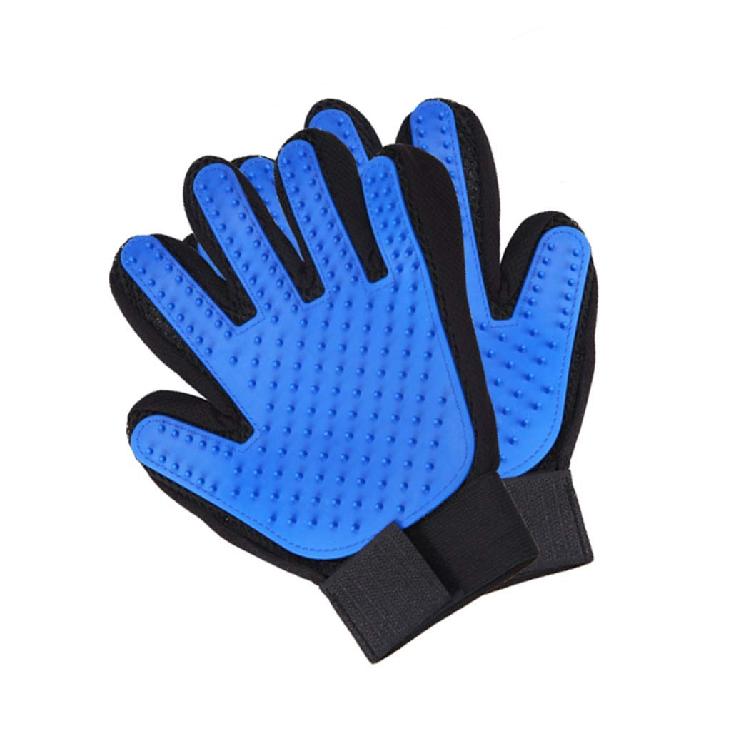 Ffl2019 Pet Gloves Special pet Brush efficient Removal of pet Floating Gloves pet Grooming Gloves Massage Gloves Pet Hair Removal Comb Blue Hands pet Gloves Upgraded Comb Hair Artifact