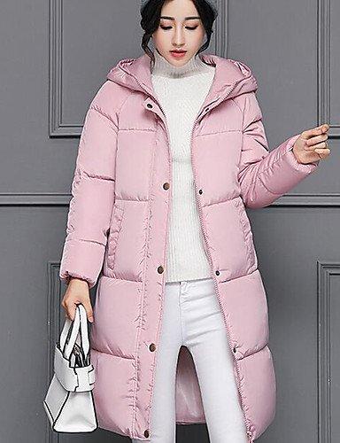 amp; pink ShangYi polipropileno mujer Casual YYYURONG poliéster manga blushing Abrigo de edredón largo larga TT liso Simple Tp5ASR