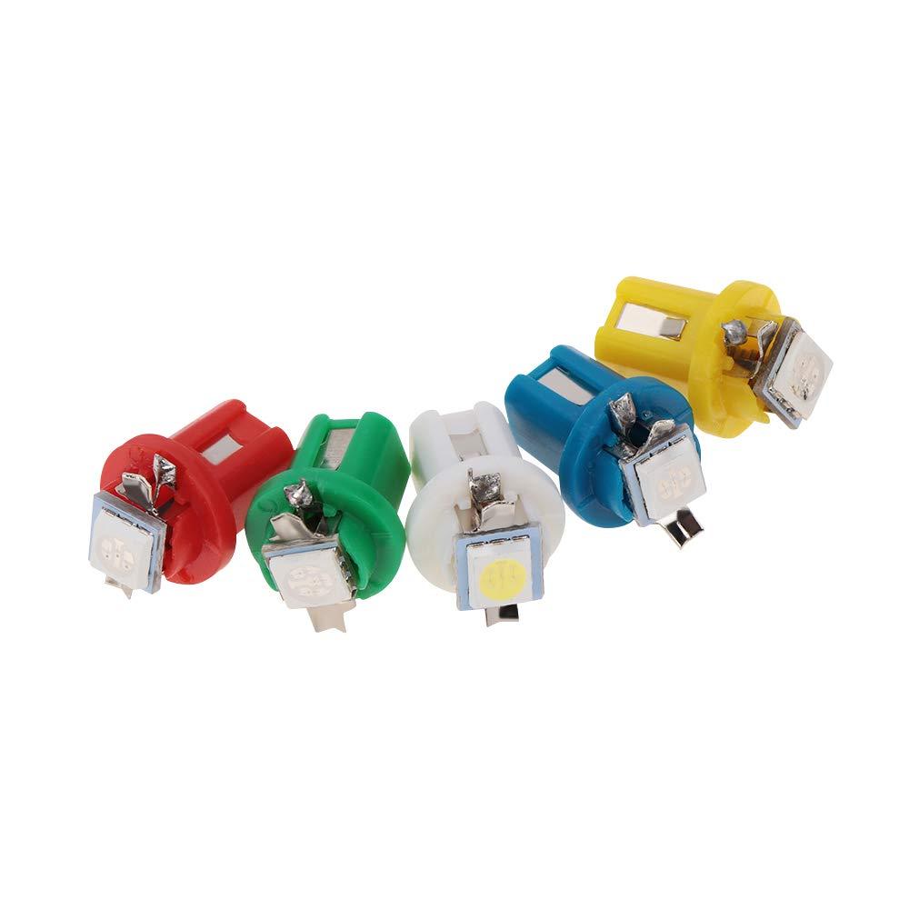 vert 10pcs B8.5D 509T B8.5 5050 1 T5 SMD Ampoule Dash vitesse Gauge voiture Tableau de bord automatique Lampe instrument Lumi/ère Wedge lampe int/érieure