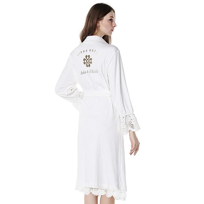 Pijamas de manga larga de algodón blanco/albornoz-A XL