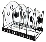 Hoople Heavy Duty Pan Organizer, Pot Lid Rack for Kitchen, Counter, Cabinet, Pantry, No Assembly Required, Black (Adjustable)