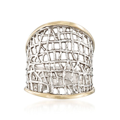 Ross-Simons Sterling Silver and 14kt Yellow Gold Free-Form Lattice Ring
