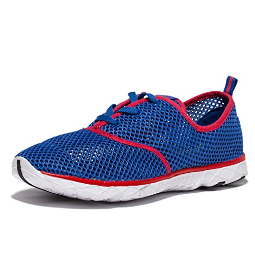 Deer Men's Water Sneakers Outdoor Beach Athletic Lace-up Running Shoes Lightweight Blue-Red EU45