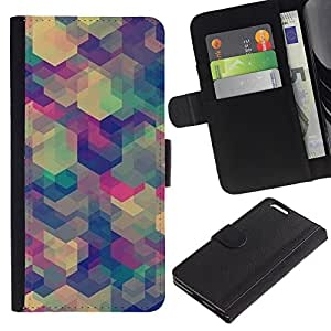 For Apple (5.5 inches!!!) iPhone 6+ Plus / 6S+ Plus Case , Teal Beige Purple Pattern Calm - la tarjeta de Crédito Slots PU Funda de cuero Monedero caso cubierta de piel
