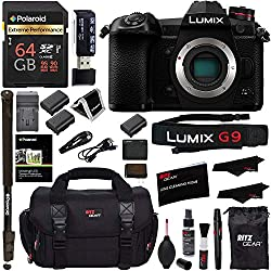 "Panasonic Lumix G9 Mirrorless Camera Body 20.3 MP G9KBODY, Polaroid 64GB High Speed SD Card U3, Polaroid 72"" Monopod, Spare Battery, Battery Charger, Ritz Gear Cleaning Kit and Accessory Bundle"
