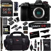 "Panasonic Lumix G9 Mirrorless Camera Body 20.3 MP G9KBODY, Polaroid 64GB High Speed SD Card U3, Polaroid 72"" Monopod, Spare Battery, Battery Charger, Ritz Gear Cleaning Kit Accessory Bundle"