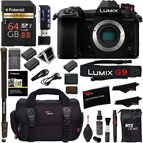 Panasonic Lumix G9 Mirrorless Camera Body 20.3 MP G9KBODY, Polaroid 64GB High Speed SD Card U3, Polaroid 72' Monopod, Spare Battery, Battery Charger, Ritz Gear Cleaning Kit and Accessory Bundle