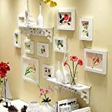 Hongyu 10 multi-frame photo wall solid wood carved racks photo wall wall photo frame wall simple modern European handmade (Color : White)