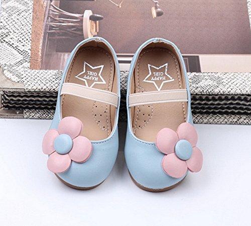 Vokamara Kleinkind Mädchen Schuhe Blume Ballerina Flach Kleid Schuhe Blau