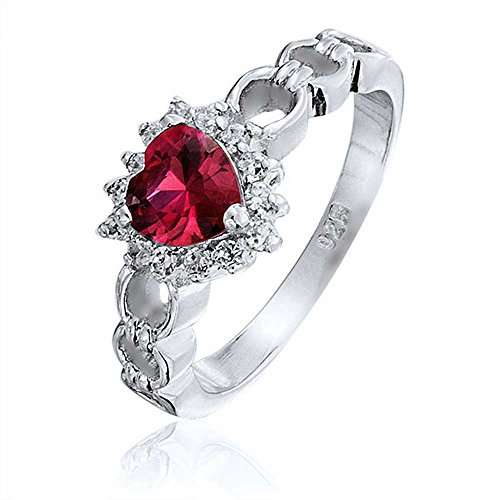 Heart Link Ring (Bling Jewelry Simulated Garnet CZ Heart Love Links Sterling Silver Ring)