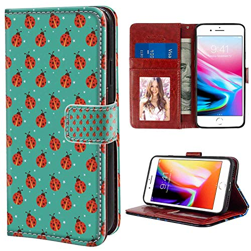 (Wallet Phone Case Compatible iPhone 8 Plus (2017) or iPhone 7 Plus (2016) (5.5in) Modern Cute Ladybugs with Little Star Motifs Spring Nature on Blue Background Teal Red Black Texture Case)