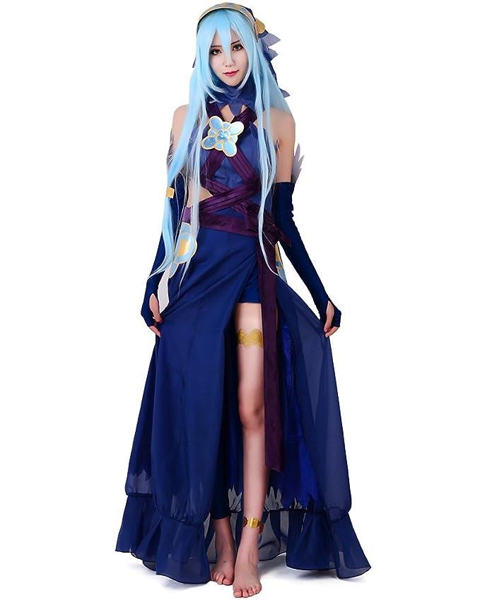 Miccostumes Womens Fire Emblem Fates Conquest Azura Blue Cosplay Costume (WXL)