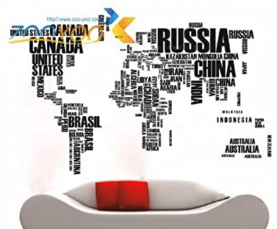 """Toprate(TM) English Words World Map Wall Art Decal Sticker Vinyl 45.5"""" H x 75"""" W For Parlour Television Walls Home Decal"""
