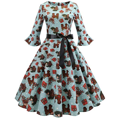 ens Evening Party Dress Santa Claus Print Vintage Aline Flared Dress(Green, US Size XL = Tag 2XL) ()