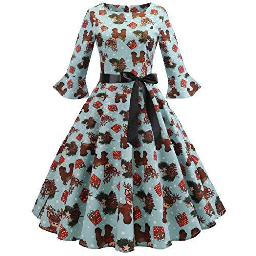 Women Vintage 1950s Hepburn Ladies Christmas Fawn Prints