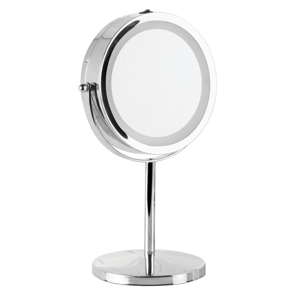 iDesign Metal Free-Standing Portable Double-Sided Vanity Mirror with Lighting for Master, Guest, Kids' Bathroom, College Dorm, 13'' Inch, Chrome