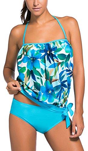 Costumi Fiori Tankini Bikini Donna Mare Piscina Pezzi OLIPHEE Due Costume Blu Sportivo Moda e x7IXqP