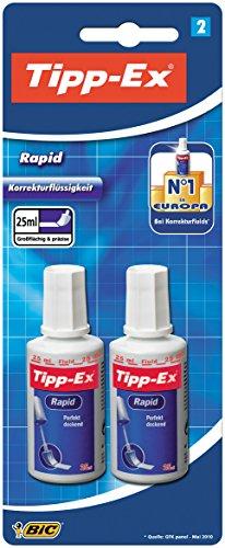 Tipp-Ex Rapid Korrekturfluid, mit Auftragsschwämmchen, Flasche à 25 ml, Blister à2 Stück, weiß