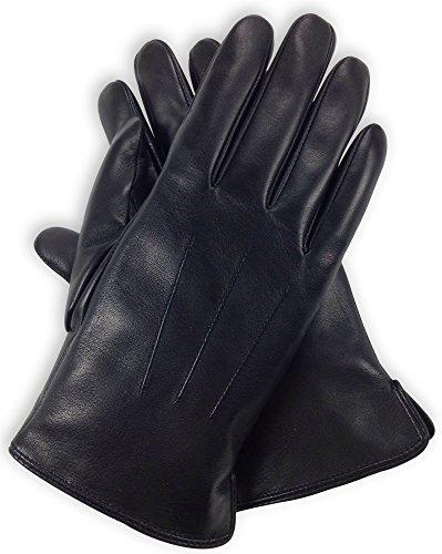 Bleu Nero Luxury Soft Men's Leather Gloves – Genuine Lambskin with Cashmere - Black (Black Lambskin Leather Gloves)