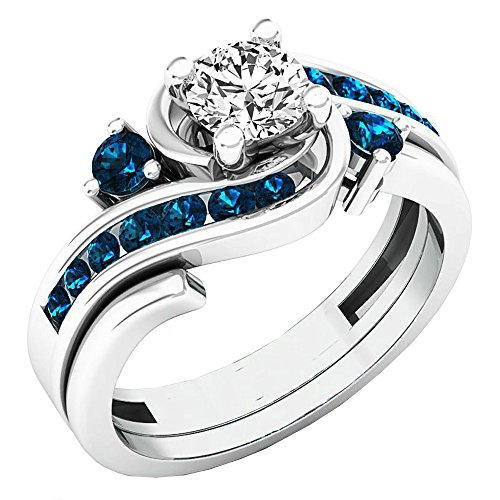 0.95 Carat (ctw) 14K White Gold Round Blue And White Diamond Engagement Ring Set 1 CT (Size 7) (Bridal Sets White Gold Blue)