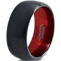 Chroma Color Collection Tungsten Wedding Band Ring 10mm for Men Women Red Black Domed Brushed Polished