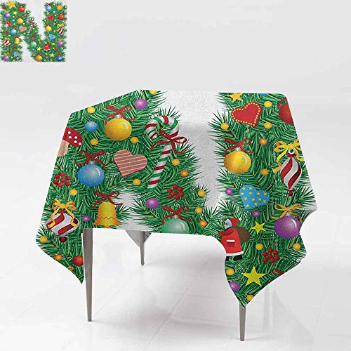 AndyTours Square Table Cloth,Letter N,Capital N in Green Color with Coniferous Leaves Bells Bowknots Hearts and Stars,Dinner Picnic Table Cloth Home Decoration,70x70 Inch Multicolor